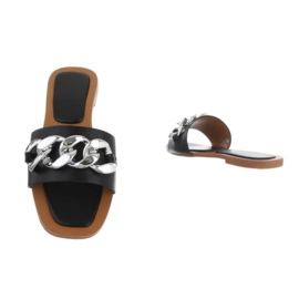 Slippers, zwart met schakelketting