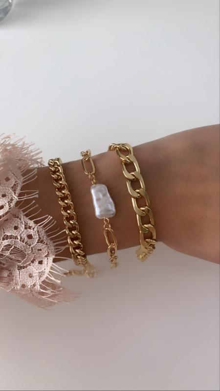 Armband goud met parel (3-delig)