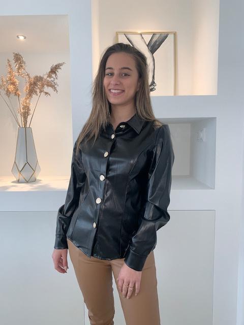 Zwarte leren blouse