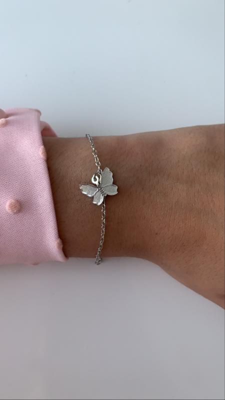 Armband zilver met vlinder