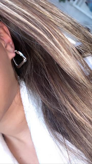 Zilveren oorbellen vierkant