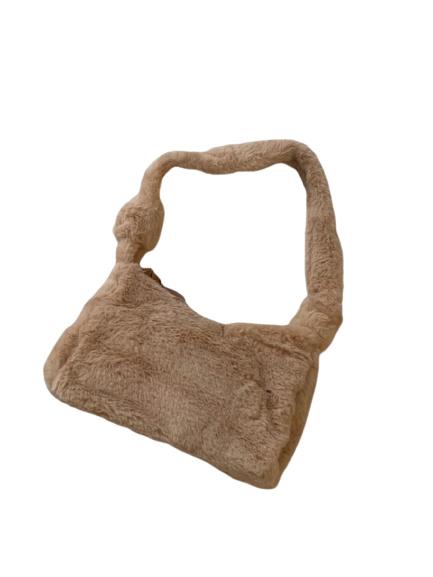 Fluffy schoudertas licht bruin