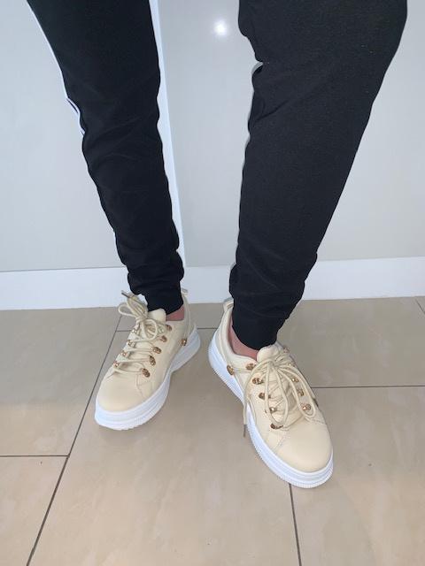 Sneakers beige goud