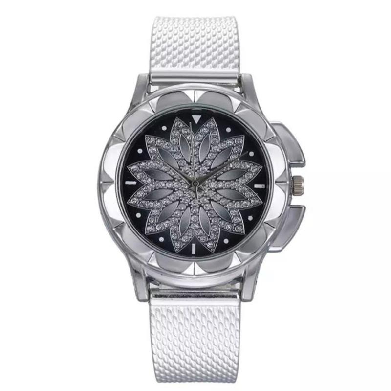 Horloge zilver met bloem