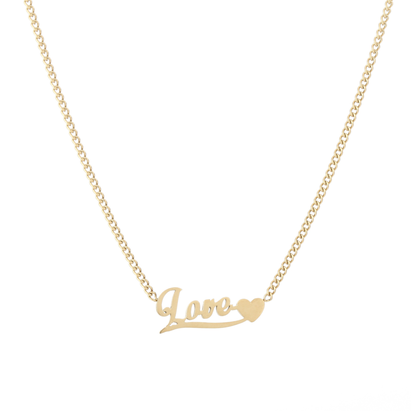 Ketting love met hartje gold