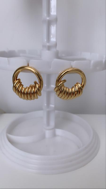 Ronde stud oorbellen goud