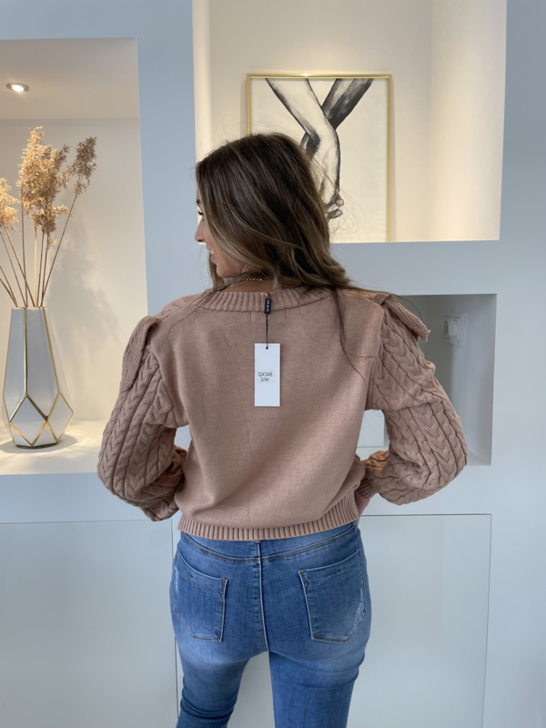 Trui met rouches  donker beige - Chelsey