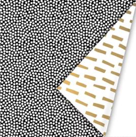 Inpakpapier Cozy Cubes - Gold/White/Black dubbelzijdig - 30cm