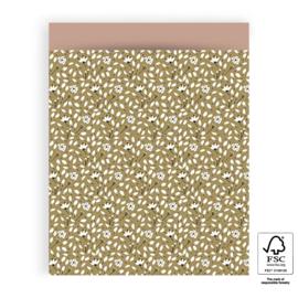 NIEUW! Inpakzakken Flowers Liberty - Olive Green/Pink - 27x34 cm - 5 stuks