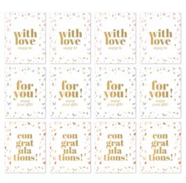 Sticker SOW rechthoek confetti / goudfolie - 9 stuks