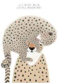 Ansichtkaart A6 - Cheeta / Jij bent mijn lievelingsmens! incl. envelop
