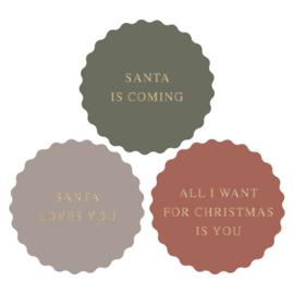 Stickers Kerst Multi - X-mas Santa love - 9 stuks