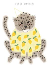Ansichtkaart A6 - Cheeta met feesthoedje / Gefelicitroen! incl. envelop