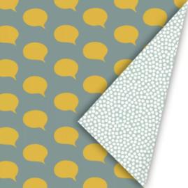 Inpakpapier Let's Talk - Wax/Oker/Mint dubbelzijdig - 30cm