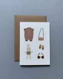 Gevouwen wenskaart A6 – Baby benodigdheden/Oud roze incl. envelop