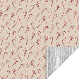 Inpakpapier Candy Cane - Beige/rood snoepgoed - dubbelzijdig - 50cm