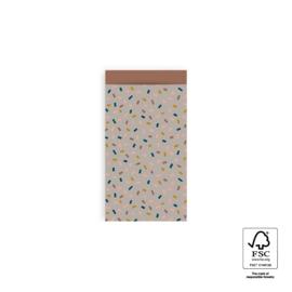Mini cadeauzakjes Confetti Multi - Taupe/Terra - 7x13 cm - 5 stuks