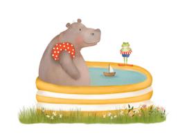 NIEUW! Ansichtkaart A6 - Nijlpaard in bad incl. envelop