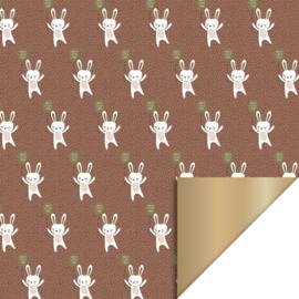 NIEUW! Inpakpapier Baby Bunny - Terra/roest dubbelzijdig - 30 cm
