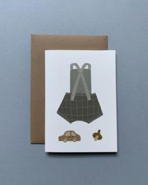 Gevouwen wenskaart A6 – Speelse baby/Groen incl. envelop