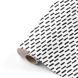 Inpakpapier Cozy Cubes - Roze/Wit/Zwart dubbelzijdig - 30cm