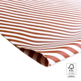 Vloeipapier - Strepen diagonaal rood/wit - 5 vellen
