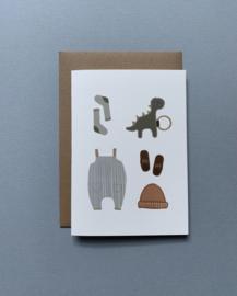 Gevouwen wenskaart A6 – Baby benodigdheden/Blauw incl. envelop