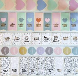 Sticker Hearts soft pastel - 10 stuks