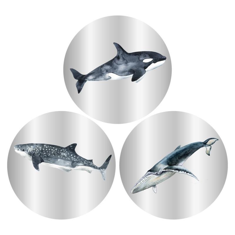 Stickers Multi - Sealife Silver zilverfolie - 9 stuks