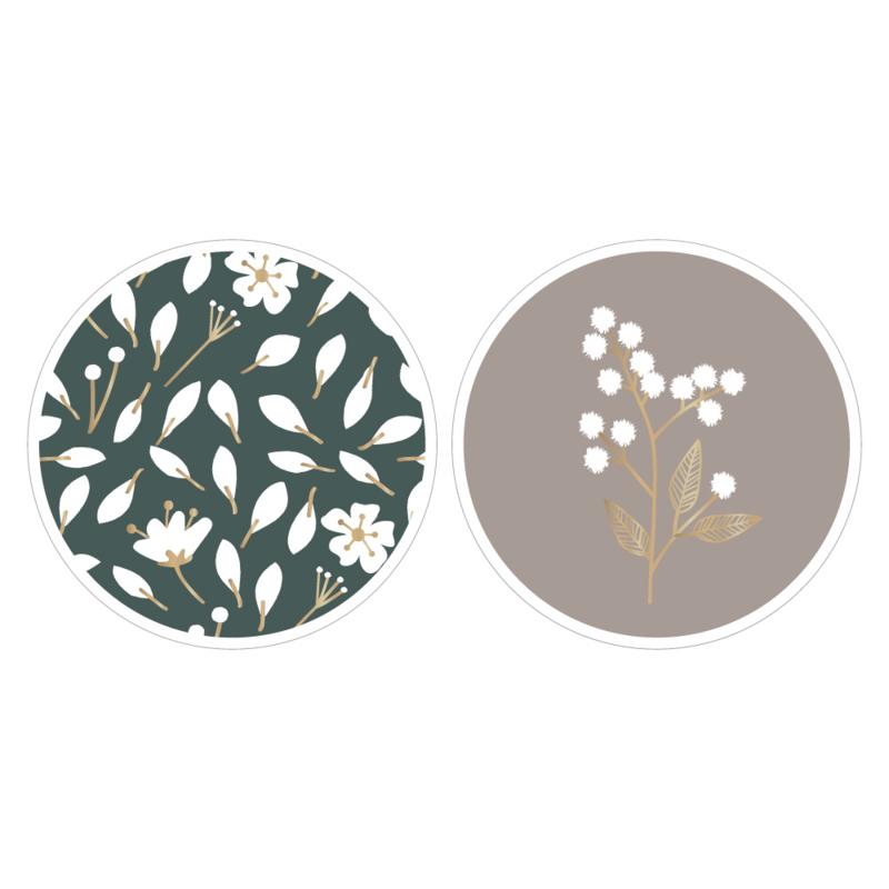 Stickers Duo - Flowers - Petrol Grey - 10 stuks