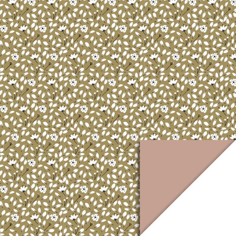 Inpakpapier Flowers Liberty - Olive Green/Pink dubbelzijdig - 50cm