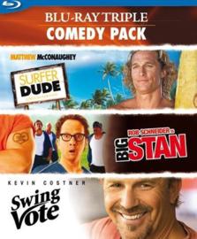 3 movie comedy Surfer Dude - Big Stan - Swing Vote (blu-ray tweedehands film)