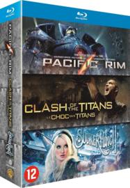 3 movie actie Pacific Rim - Clash of the Titans - Suckerpunch (blu-ray tweedehands film)