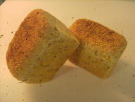 Boerenmaïs desem brood gesneden