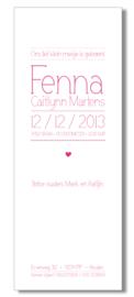 Geboortekaartje | letterpress  | 8 x 20 cm | 1 kleur  | 'Lettertype dun | meisje' vanaf