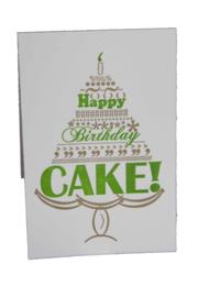 Verjaardagskaart | Happy birthday cake | goud/ groen
