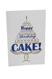 Verjaardagskaart | Happy birthday cake | goud/marine