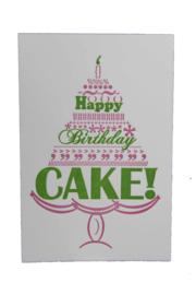 Verjaardagskaart | Happy birthday cake | roze/groen