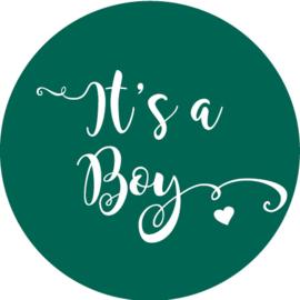 Geboorte sluitzegels | It's a boy | donker (emerald) groen