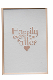 Kaart bruiloft | Happily ever after | blush roze