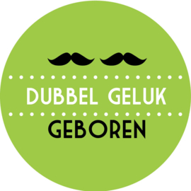 Geboorte sluitzegels | Tweeling | Snorren dubbel geluk | groen