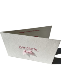 Geboortekaartje | letterpress  | 10 x 15cm | 2 drukgangen| ' Strik klassiek | Annelotte' vanaf