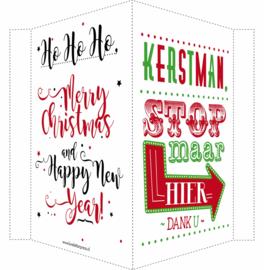 Kerstbord/raambord | Kerstman + Merry Christmas & Happy New Year | rood/groen /zwart vanaf