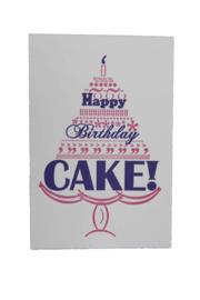 Verjaardagskaart | Happy birthday cake | oze/paars