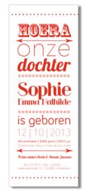 Geboortekaartje | letterpress  | 8 x 20 cm | 1 kleur  | 'Hoera een dochter' vanaf