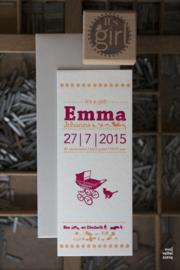 Geboortekaartje | letterpress  | 8 x 20 cm | 2 kleuren | 'Vintage wieg Emma' vanaf