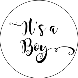 Geboorte sluitzegels | It's a boy | wit/zwart