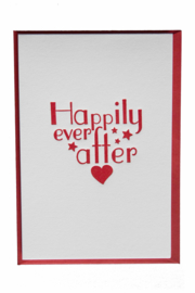 Kaart bruiloft | Happily ever after | rood