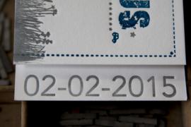 Geboortekaartje   letterpress    8 x 20 cm   4 drukgangen   'Bakfiets Julius' vanaf