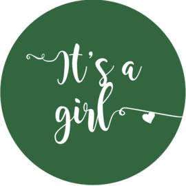 Geboorte sluitzegels | It's a girl | donker groen